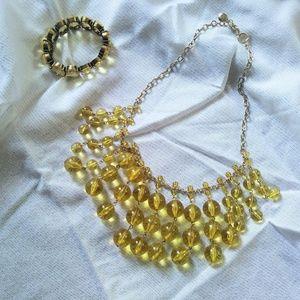 J. Crew Vintage looking Yellow Necklace & Bracelet